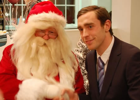 Santa meets Richard Keogh Carlisle United player